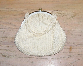 Vintage Beaded Handbag Purse by Corde Bead Off White Top Handle Wedding Accessories Bridal Party Prom Gift Guide Women