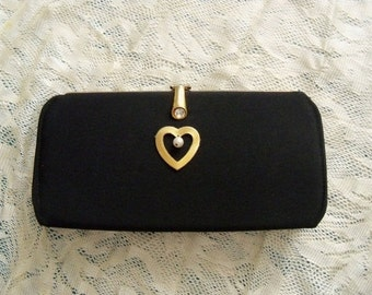 Purse Vintage Black Restyled Assemblage Evening Rhinestone Clasp Heart Brooch Wedding Cottage Chic Mid Century Gift Guide Women