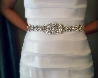 Rhinestone Bridal Sash – Wedding Belt Encrusted with Crystals and Satin Ribbon Tie