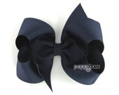 Navy Blue Hair Bow - Back to School Uniform Baby Toddler Girl - Solid Color 4 Inch Boutique Bow on Alligator Clip Barrette
