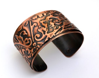 Copper Cuff Embossed Bracelet