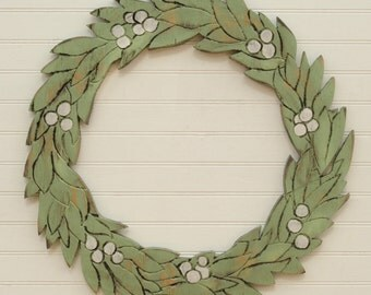 Wooden Winter Wreath Holiday Decor Christmas Wreath Green and White
