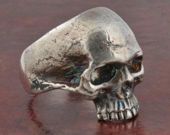 Skull Ring, Half Jaw, Mens Custom .925 Solid Sterling Silver Skull Ring