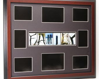 family tree picture collage frame with nature themed alphabet photographs 16x20 or 20x20 inch mat exclusively by creative letter art