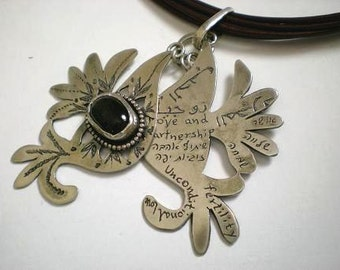 Silver Pendant ,Birds with Onyx.