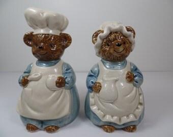 Vintage Salt and Pepper Shakers: Otagiri Chef Bears Salt & Pepper Shaker Set