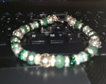 grace - green and silver bracelet