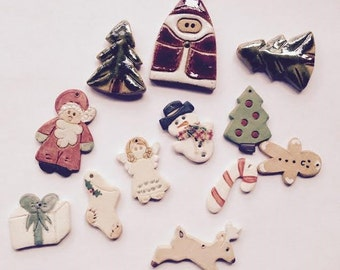 Group of Clay Charms, Vintage Holiday Charms, Christmas Beads
