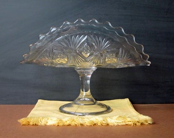 Vintage pressed glass banana stand - footed curved glass plate - fan and diamond pattern - creative serving pedestal