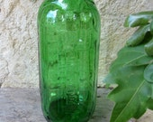 Vintage Green Anchor Hocking Water Juice Refrigerator 40 Ounce Bottle