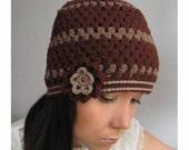Winter brown hat with romantic flower, Crochet hat, Women winter hat, Elegant crochet hat, Winter Accessories