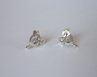 2 Sterling Silver 925 filigree Clover large bail XL- (4 .5 mm cord hole)