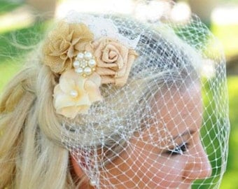 Gold Burlap Birdcage Fascinator-Gold and Ivory Bridal Veil-Wedding Headpiece