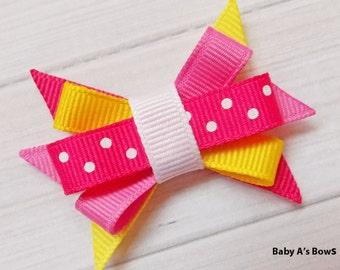 Bright Pink and Lemon Yellow Itty Bitty Bow Bow - Sister Bows, Lemon Yellow Bow, Hot Pink Bow, Pink Lemonade