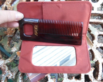 Vintage NOS 1970s to 1980s Pursemates NIB Tortoise Mirror and Comb Set In Flocked Rust Colored Case AVON