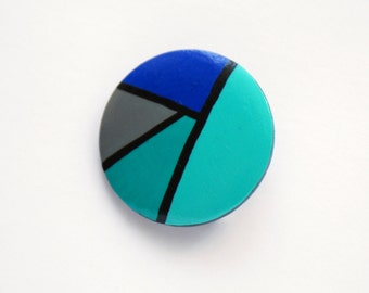 Geometrical hand painted wooden brooch