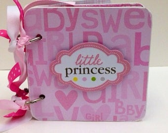 Baby Girl scrapbook Brag Book Premade pages chipboard Mini Album- Baby Shower- Sweet Pea