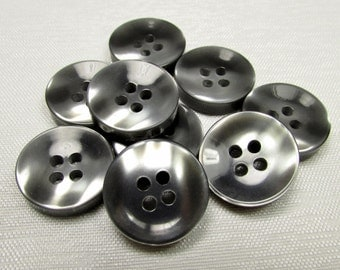 """Dark Gray Shiners: 11/16"""" (18mm) Smooth 'n Shiny Buttons - Set of 9 New / Unused Matching Buttons"""