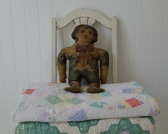 Vintage Antique rare printed cloth doll