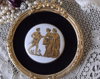 Vintage wall plaque, romantic home, grecian cameo, round, ornate