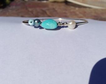 Sleeping Beauty turquoise, White pearl, Larimar, Silver Bangle, Lilyb444, large Bangle,