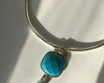 Turquoise with Larimar/Blue Quartz with Sky Blue topaz Silver Bangle, Etsy jewelry, lilyb444