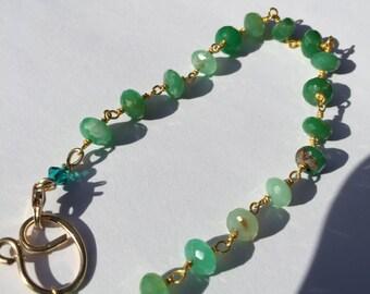 Chryoprase Bracelet, Green and Gold bracelet, Lilyb444, Etsy jewelry,
