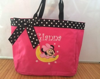 Personalized Girl Minnie Mouse Moon Tote Bag Baby Diaper Bag