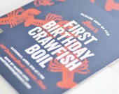 Crawfish Boil First Birthday Party Invitations - Seafood Boil Birthday Party Invitations