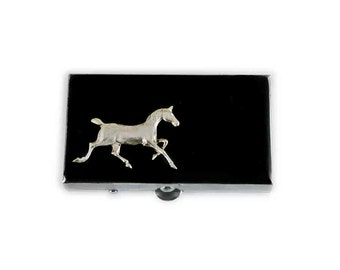 Horse Pill Box Hand Painted Enamel Neo Victorian Morgan Horse Rectangle Pill Case Ciustom Colors and Personalized Options