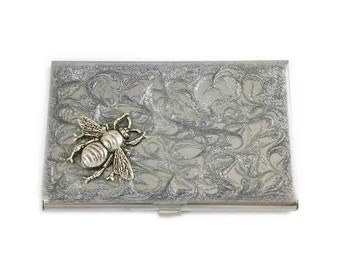 Bee Business Card Case Inlaid in Hand Painted Enamel Silver Scroll Design Neo Victorian Metal Wallet Custom Colors and Personalized Options