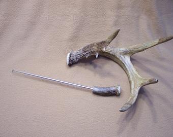 Pigtail Meat Flipper With Deer Antler Handle