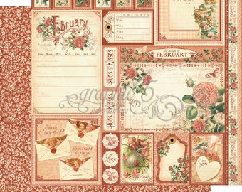 """BOTH February Pages - Graphic 45 """"Time to Flourish""""  ** See Discounted Shipping Note**"""