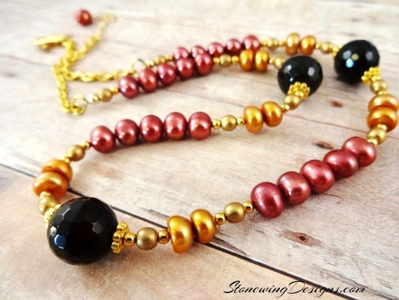 Red and Gold Pearl and Black Onyx Necklace