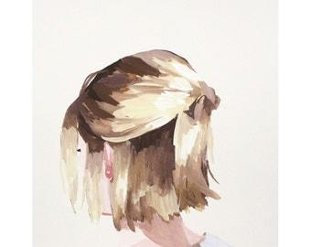 "8x10"" hair art - bun print - ""Bob 3"""