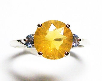 "Fire opal, fire opal ring, fire opal tanzanite, 3 stone ring, yellow blue, anniversary ring, s 6 1/2  ""Sunny side up"""