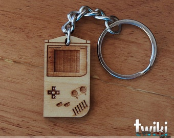 Game Boy wood keyring OR gameboy charm accessory - gameboy accessory, gameboy keychain, game boy keychain, game boy charm, wood game boy