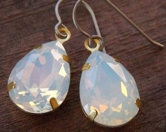 Titanium Earrings, Opalite Teardrops, Set in Brass with Hypoallergenic Titanium Ear Wires, Glass Opals