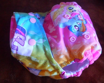SassyCloth one size pocket diaper with My little pony on pink cotton print. Made to order.
