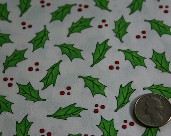 """2 1/8 Yards x 44"""" Wide Timeless Treasures Fabric Christmas Holly & Berries Cotton Fabric"""