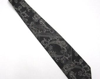 """Black Silver Necktie Towncraft 4"""" Wide Tie"""