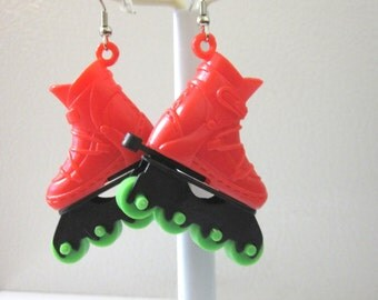 Roller Skate Earrings Red Green Roller Derby Accessory