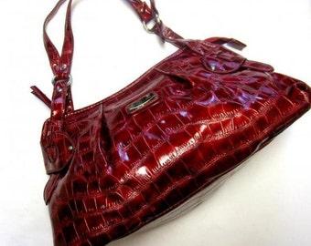 Cranberry Red Large Purse Sag Harbor Mock Croc Wine Burgundy Hobo Bag