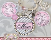 PERSONALIZED We Love You To The Moon And Back Mom Keychain Grandma Nana KEY CHAIN, Custom Names,Chevron Pink Grey Children's Names,Mimi,Aunt