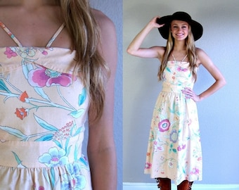 vtg 70s peach FLORAL PRINT boho Sun DRESS xs romantic hippie art nouveau bohemian