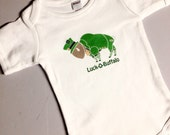 Infant One Piece Bodysuit One Piece St Patricks Day Leprechaun Buffalo Luck of Buffalo Green and Gold Fun
