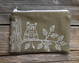 Hand Painted Owl Zipper Pouch in Khaki and White, Nature Inspired Cosmetic Bag, Woodland Accessories