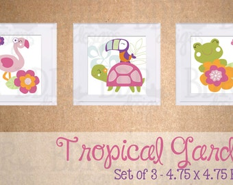 Tropical Garden Nursery Art - Set of 3 Prints - Matches Carter's Tropical Garden