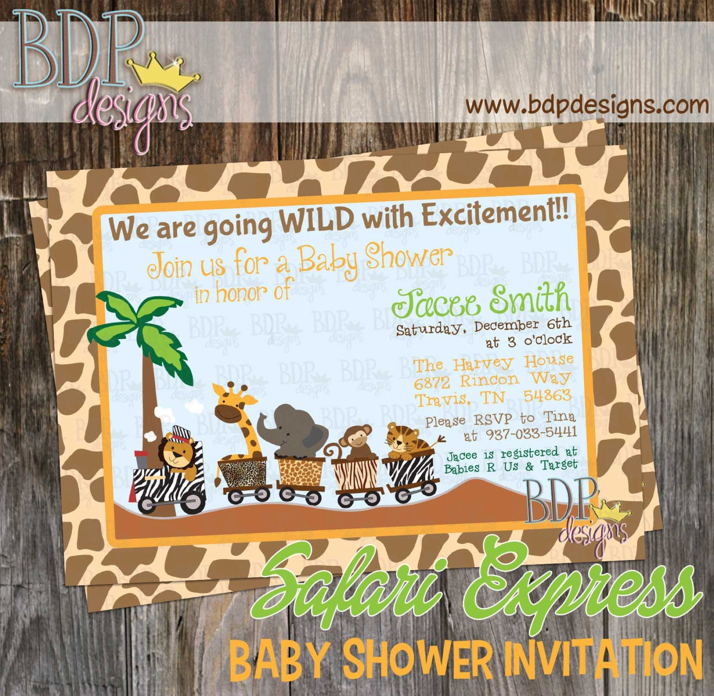 Safari Express Jungle Train Baby Shower Invitation