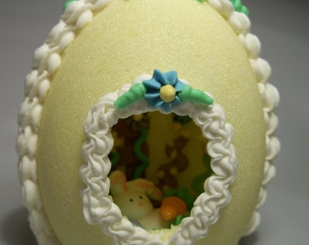 Easter Egg Panoramic Sugar Easter Egg Gift Decoration YELLOW  Edible 3D
